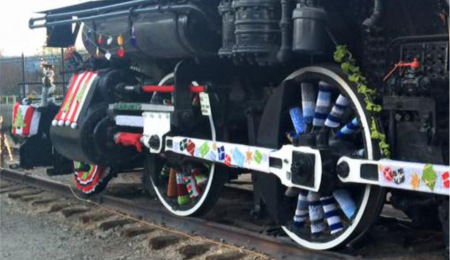 holiday train yarn bomb